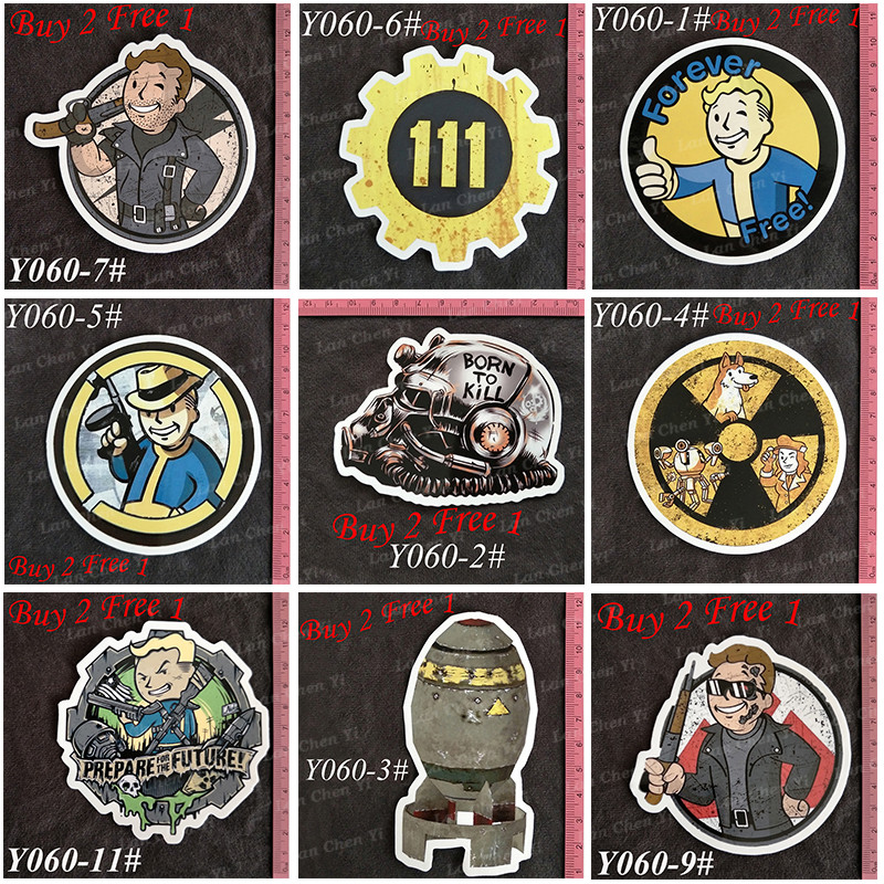 Y060 # Fallout Hot Sale PVC Big Sticker Hjemmeinnredning Kjøleskap Styling Wall Travel Suitcase Graffiti Styling Stickers