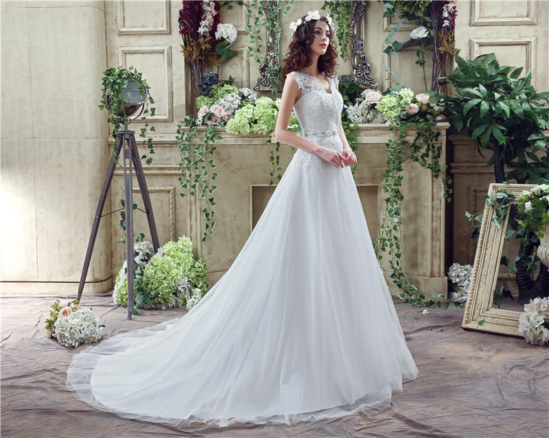Cheap High Quality A Line Wedding Dress V Neck Sleeveless