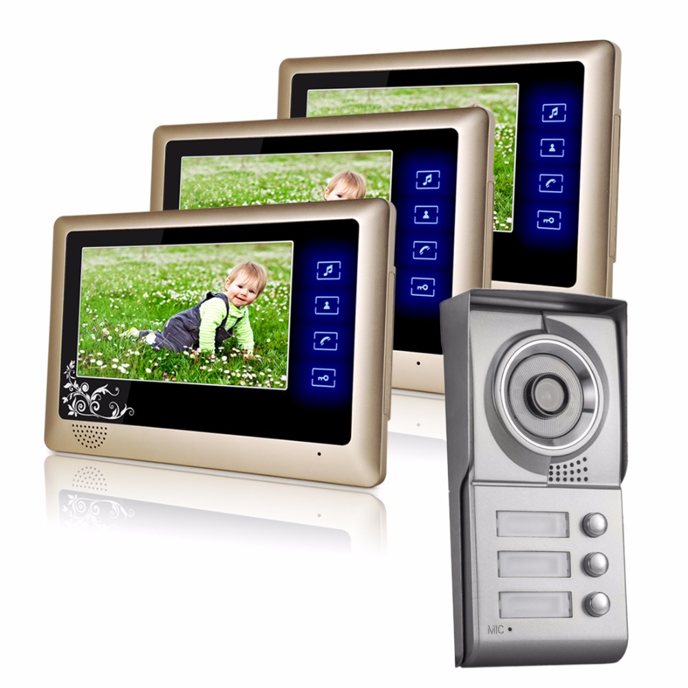 3 Apartment Family Wired Video Doorbell Intercom System 1 door Camera with 3 button 3 Monitor