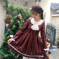 Inglaterra manga larga primavera mujeres kawaii dress rayas manga completa órdenes jaese aw395 colegio vestidos lolita vino rojo azul marino