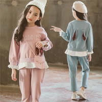 Girls Autumn Blingbling Rabbit Pullovers Suit 2018 New Fashion Cute Children Clothes Little Girls Holloween Sports Sets Fashion