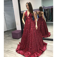 Sexy Dark Red Evening Dress 2018 New A Line Sleeveless Floor Length Sparkly Sequins Prom Gowns Plus Size Summer Party Dresses