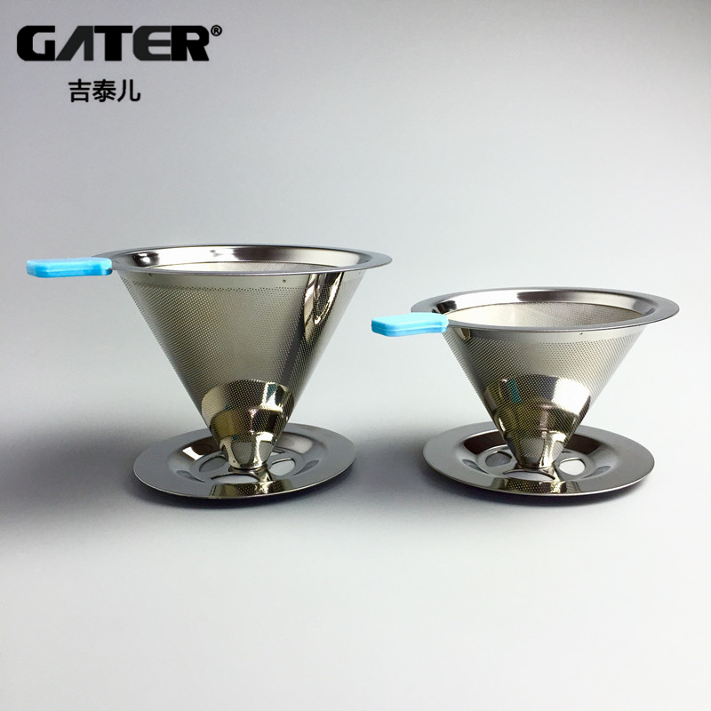 GATER Reusable Coffee Filter Holder Rustfrit Stål Brew Drip Kaffefilter Funnel Metal Mesh Kaffe Tea Filter Basket Værktøj