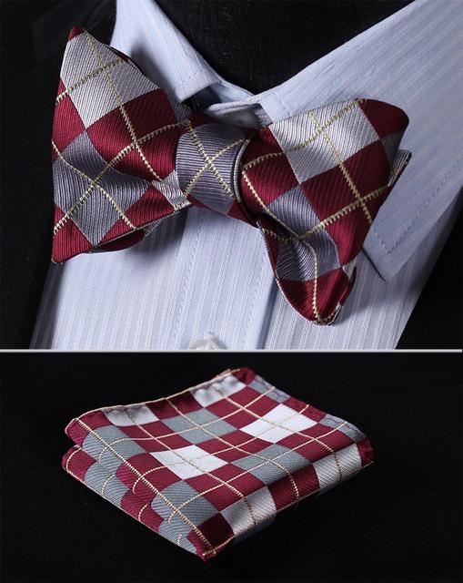 Check 100%Silk Jacquard Woven Men Butterfly Self Bow Tie BowTie Pocket Square Handkerchief Hanky Suit Set #RC1