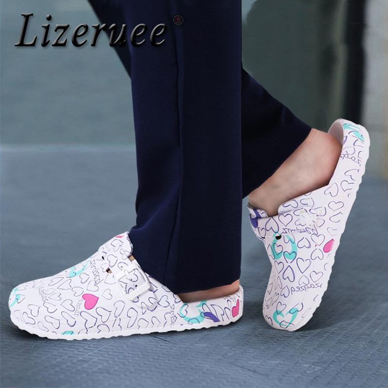 Hospital Surgical Medical Slippers Floral Printed Doctor Nurse Dentist Waiter Workwear Cleaning Shoes Lab SPA Beauty Salon Shoes