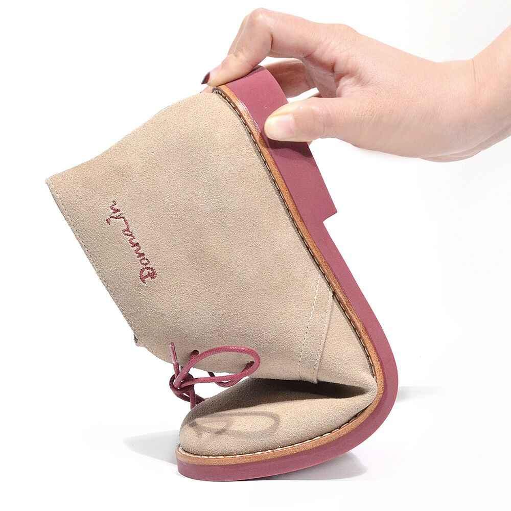 Donna-in yarım çizmeler Kadınlar için Martin Çizmeler Hakiki deri ayakkabı Düz Rahat Patik Kadın 2019 Sonbahar dantel Artı Boyutu bayanlar