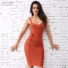 ADYCE 2020 été mode femmes robe de pansement Sexy blanc sans manches Spaghetti sangle col en V Midi Club soirée robe de soirée Vestido
