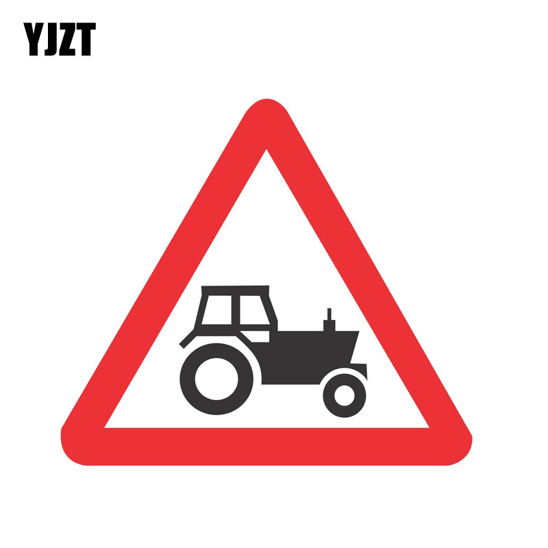 YJZT 12.4CM*11CM Tractor Sign Road Safety Car Sticker Warning Decal PVC 12-0841