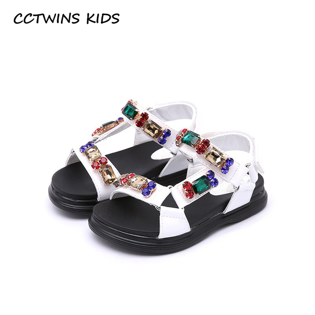 CCTWINS KIDS 2018 Summer Girl Rhinestone Princess Shoe Children Fashion  Beading Flat Baby Pu Leather Soft Shoe Black BP230 77d75f83c921