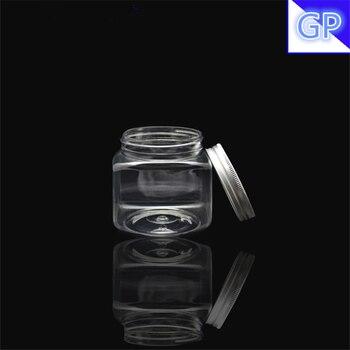 30pcs PET Transparent Square Jar 350g bath salt packaging mask 350ml white face cream jar diamond sealed secure container Pot