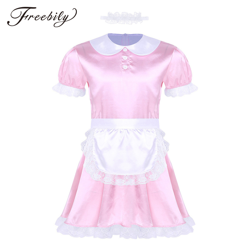 New <font><b>Mens</b></font> Sissy Girl Maid Dress Uniform <font><b>Sexy</b></font> Costumes <font><b>Cosplay</b></font> Clubwear Doll Neck Satin Dress with Headband and Apron for Gay Male image