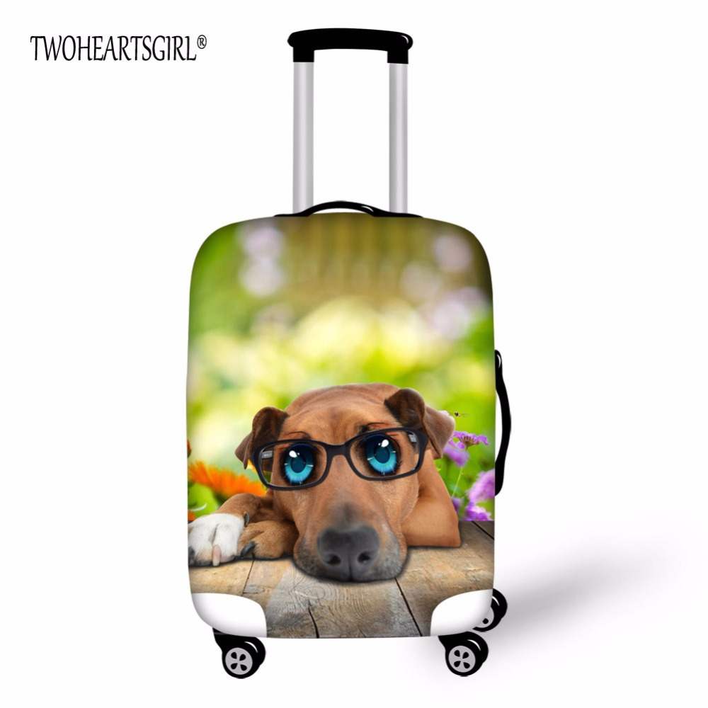 TWOHEARTSGIRL Animal with Car Music Printed Luggage Cover For 18/20/22/30 inch Trolley suitcase Elastic Dust Bags Case Travel