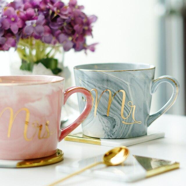 Handpainted Gold Monogram Natural Marble Porcelain Coffee Mug Mr and Mrs Tea Milk Cups and Mugs Creative Wedding Gift
