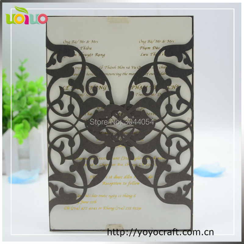 Black Business Invitation Card Laser Cut Indian Cheap Wedding