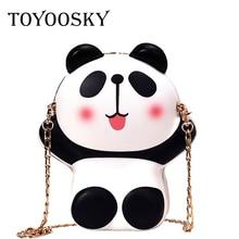 TOYOOSKY Fashion cartoon cute panda shape portable mini shoulder bag pu leather ladies messenger purse wallet Clutch