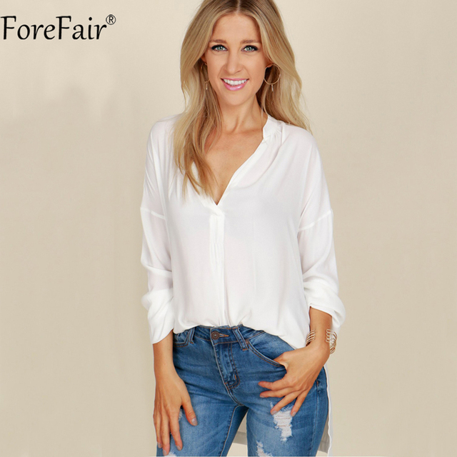 4a49f954f479 ForeFair Plus Size V-Neck Loose Long Chiffon Blouse Black White Pink Women  Batwing Sleeve