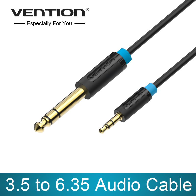 Vention Male to Male 3.5 mm to 6.35 mm Adapter Aux Cable for Mixer Amplifier Gold Plated 3.5 Jack to 6.5 Jack 3m 5m 10m Aux Cabo vention male to male aux cable 3 5mm for car