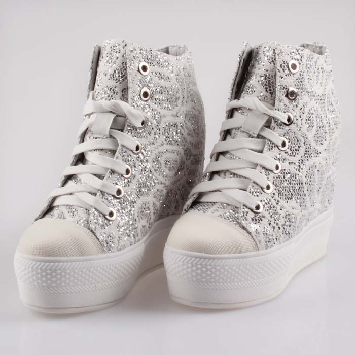 2017 new women breathable Lace high top lace up elevator wedge heels thick sole platform casual shoes fashion Sequin ladies shoe2017 new women breathable Lace high top lace up elevator wedge heels thick sole platform casual shoes fashion Sequin ladies shoe