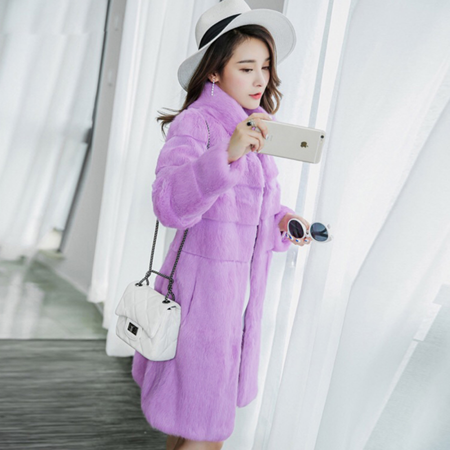 Elegant Pink Shaggy Women Long Faux Fur Coat Streetwear Autumn Winter Warm Plush Teddy Coat Luxury Female Overcoat Party Outwear