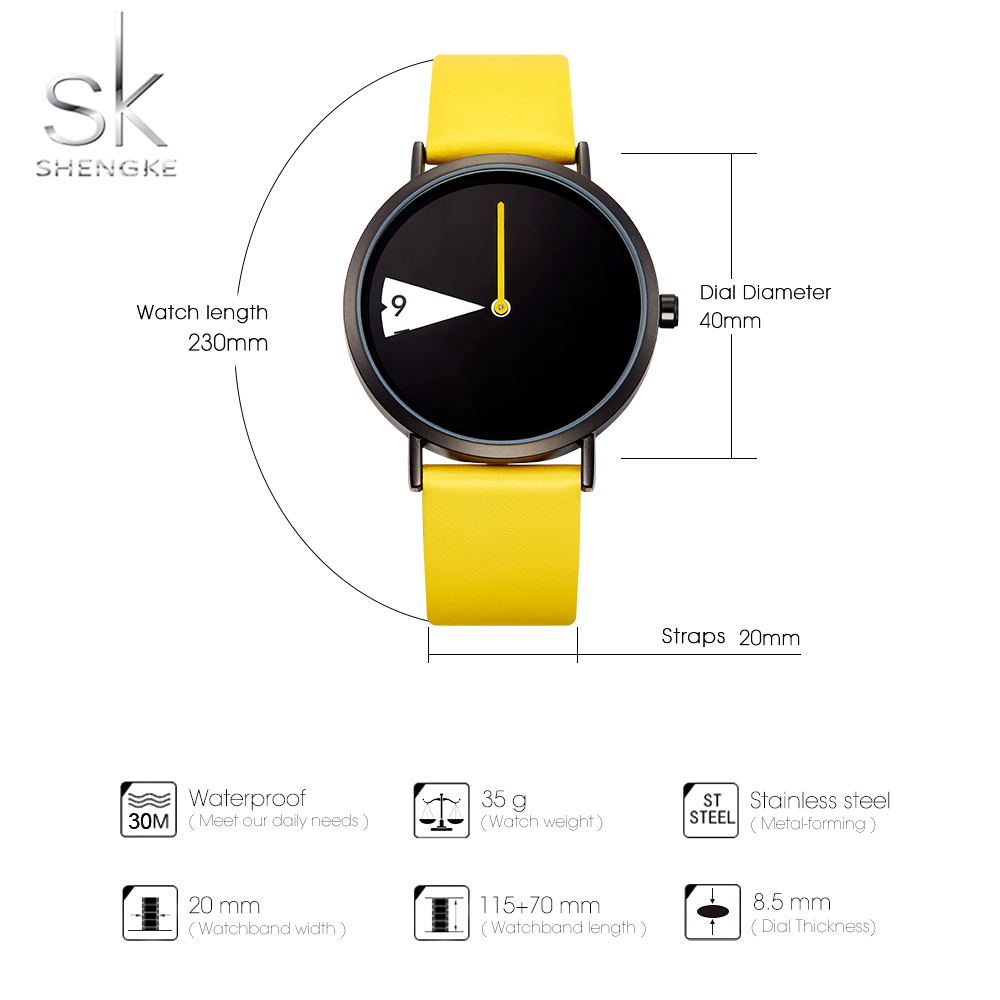 Image 3 - SHENGKE Watch New Yellow Leather Strap Casual Style Women Watches Quartz Ladies Watches Creative Clock Gift relogio feminino-in Women's Watches from Watches