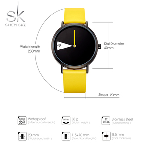 Image 5 - SHENGKE Watch New Yellow Leather Strap Casual Style Women Watches Quartz Ladies Watches Creative Clock Gift relogio feminino