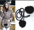 2017 Hot sale ladies new fashion belts gold metal beading knitted belts for women thin korea style rabbit fur women belt