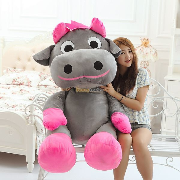 Fancytrader 2015 55'' / 140cm Super Soft Stuffed Cute JUMBO Grey Cow Toy, Nice Gift for Babies and Kids, Free Shipping FT50152 fancytrader 2015 new 31 80cm giant stuffed plush lavender purple hippo toy nice gift for kids free shipping ft50367