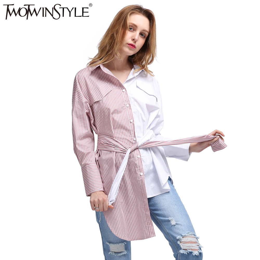 Twotwinstyle 2017 Women Summer Kimono Lace Up Shirt Tunic Blouses Striped Tops Clothes Long