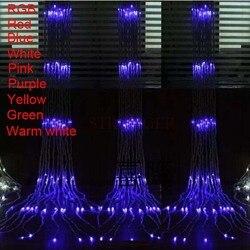 Мульти (3M x 3M) Рождественская Свадебная вечеринка фон для праздника пробежки водопада водного потока занавеска светодиодная гирлянда 336 лам...