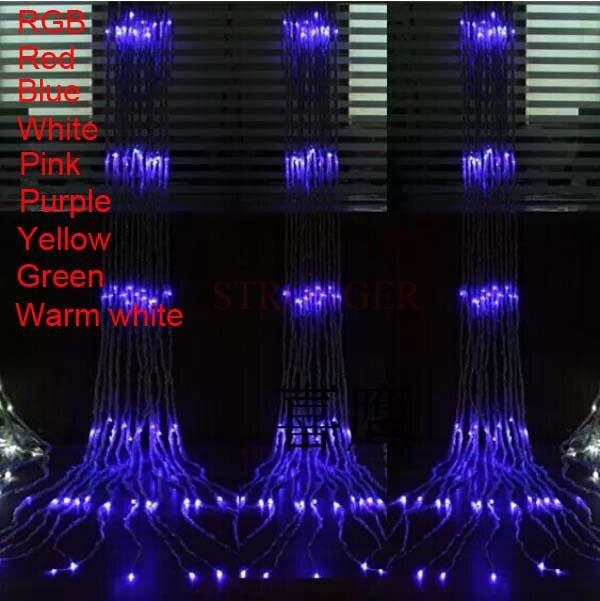 マルチ (3 m x 3 m) クリスマス結婚式のパーティー背景休日流水滝水流カーテン Led ライトストリング 336 電球