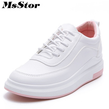 MsStor Round Toe Mixed Colors Women Flats Woman Flat Casual Shoes 2018 New Spring Cross tied Lace Up Women Skateboarding Shoes