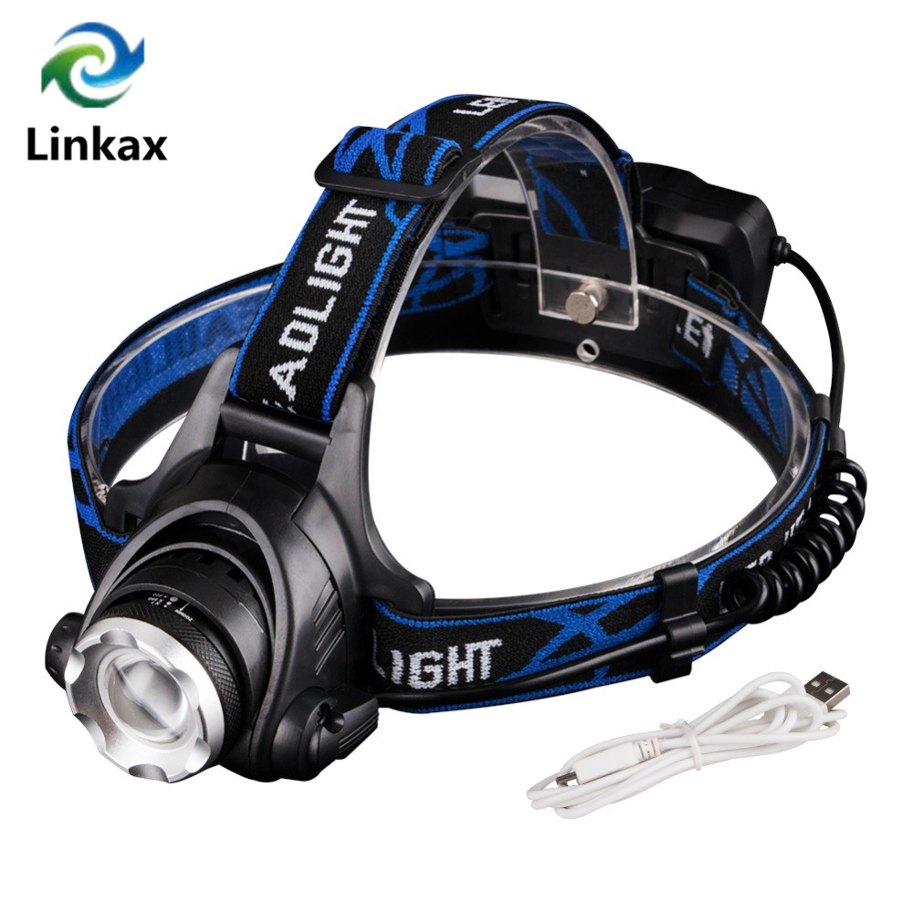 2017 New Design USB Charging Lantern LED Headlamp XM-T6 Headlight Waterproof Lanterna Head Lamp Frontal Head Torch + USB Cable