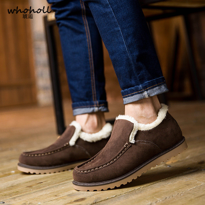 2017 New Men's Cashmere with Snow Shoes British Male Short Canister Warm Fur Winter Men Suede Leather for Man Casual Platform new casual mens cheap winter shoes keep warm with fur outdoor male snow shoes plush boots fashion men s suede leather sneakers
