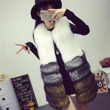 XS-3XL plus size Winter New fashion brand Fake fox fur jacket women's warm stitching color thicker slim Faux fur coat w1807
