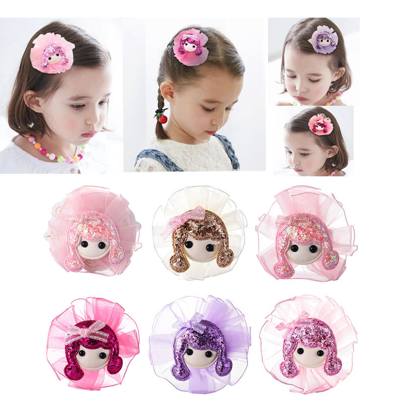 M Mism New Arrial Kids Children Hair Clips For Girls Hair Accessories Hair Barrette Cute Doll Head Horquillas De Pelo Infantiles Women's Hair Accessories
