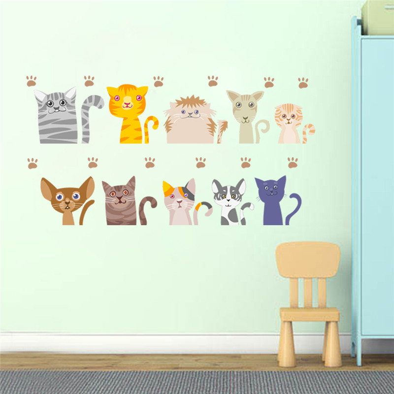 Lovely Cats Wall Stickers For Kids Rooms Home Decor Cartoon Animals Adesivos De Parede Kitten Wall Decals Diy Mural Art Posters