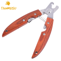 Wooden Handle Pet Nail Clippers Stainless Steel Pet Puppy Dog Cats Grooming Scissors Animal Nail Cutter