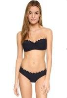 2016 Summer Styles Low Waist Triangle Bikinis Set Push Up Bandeau Strapless Cross Strappy Swimwear Swimsuit