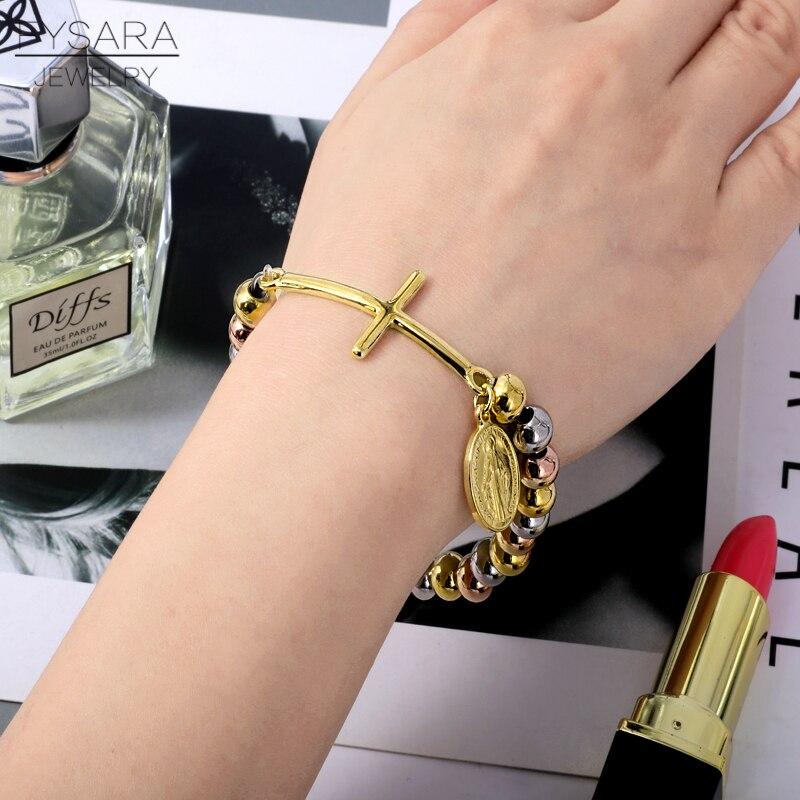FYSARA Stainless Steel Beaded Bracelets For Women Men Religion Virgin - Fashion Jewelry - Photo 5