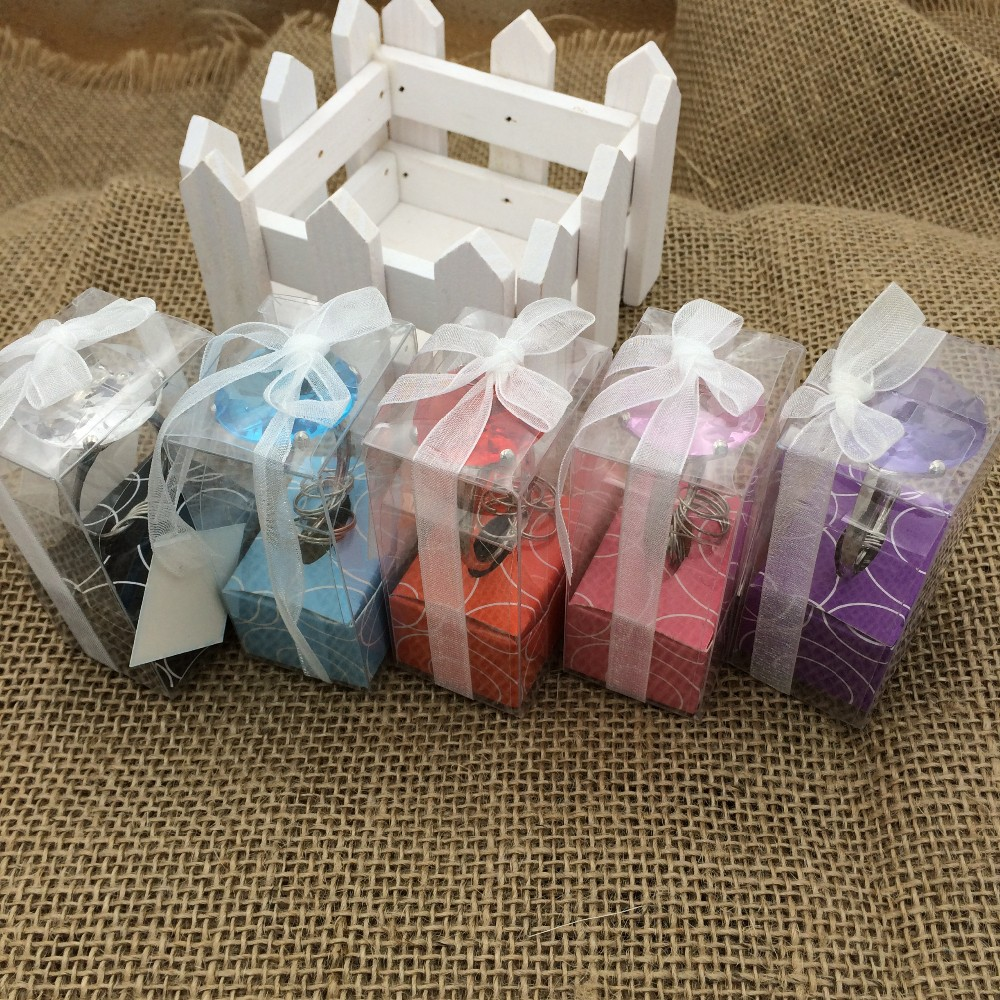 100pcs/lot Wedding Party favor Ring simulated diamond Ring Key Chain ...