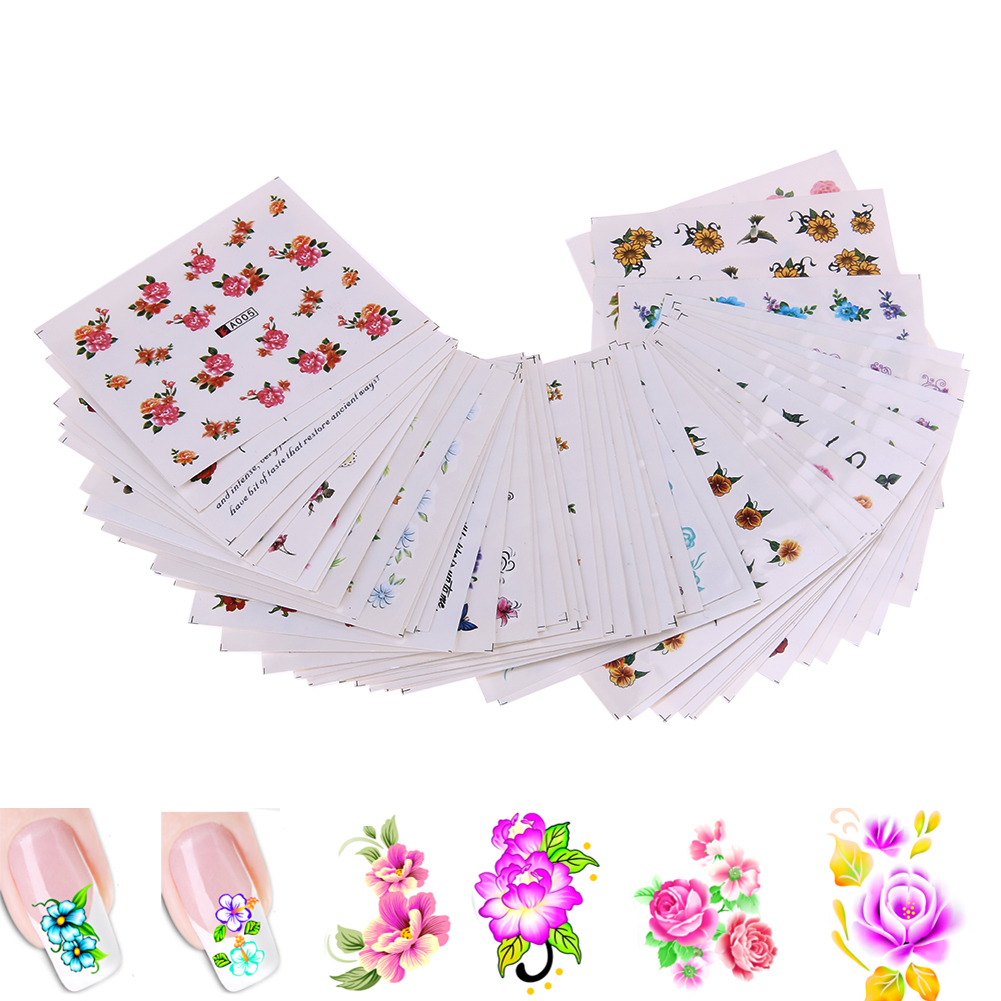 50pcs DIY Flower Decoration Temporary Manicure Tips Decal Nail Art Stickers Mixed Flower Water Transfer Sticker for Nail art 44psc set 5 5 6 5cm mixed flower water transfer nail stickers decals art tips decoration manicure stickers ongles for holiday