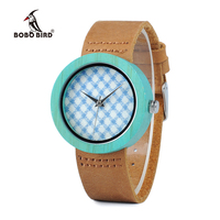 BOBO BIRD B0195 Wooden Bamboo Watch With Genuine Brown Leather Strap Quartz Analog High Quality Miyota