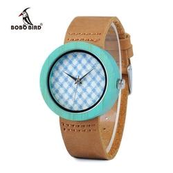BOBO pájaro WD18 de madera de bambú con el reloj de correa de cuero marrón de cuarzo analógico de alta calidad Miyota movimiento caja de regalo de madera