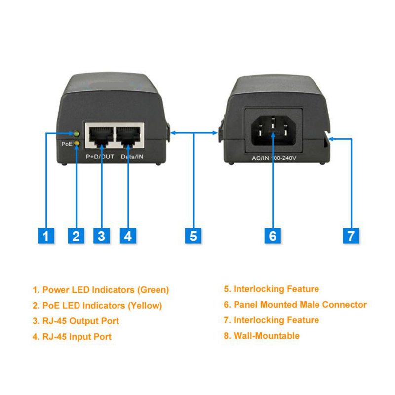 New POE Injector Automatic Detection POE Power Supply IEEE 802.3af/at Single Port 10/100/1000M 30W Power over Ethernet Gigabit cctv 4 port 10 100m poe net switch hub power over ethernet poe