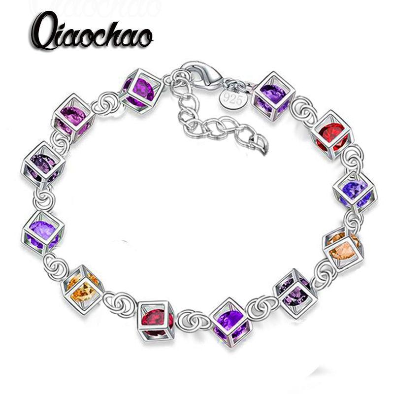 Fashion Color zircon Jewelry Silver Bracelet Charm Bracelets for Women Cubic Zirconia Bracelets & Bangles S71