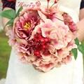 WDZ-280 Дворец Императора Роуз Шелковый Цветок Гялин Buketi Casamento Букет Роз Свадебные Букеты Головки Цветка Пиона Рамос Де Novia