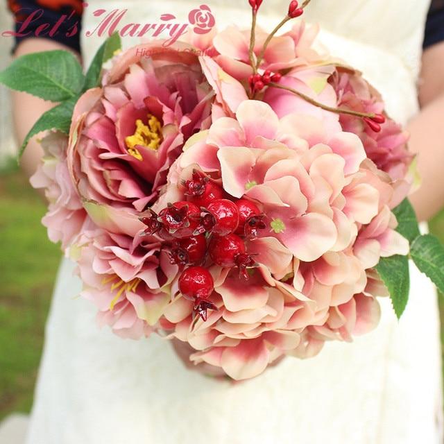 WDZ-280 Palace Emperor Rose Silk Flower Gelin Buketi Casamento Rose Bouquet Wedding Bouquets Heads Peony Flower Ramos De Novia