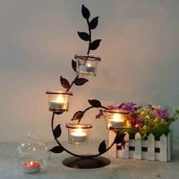 Retro Candlelight Dinner Wrought Iron Candle Holders Household Candlestick Article Candlelight Glass Holders Dinner Decorations