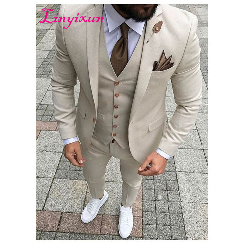 Linyixun 2017 Latest Coat Pant Designs Beige Men Suit Prom