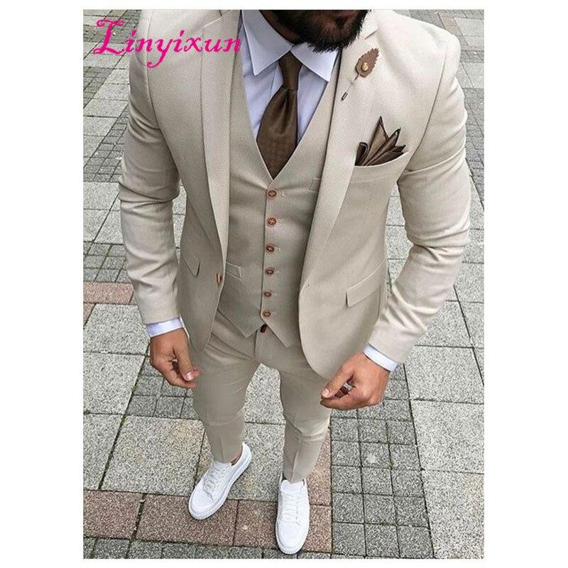 Linyixun 2017 Latest Coat Pant Designs Beige Men Suit Prom Tuxedo Slim Fit 3 Piece Groom Style mens Suits Custom Blazer Terno